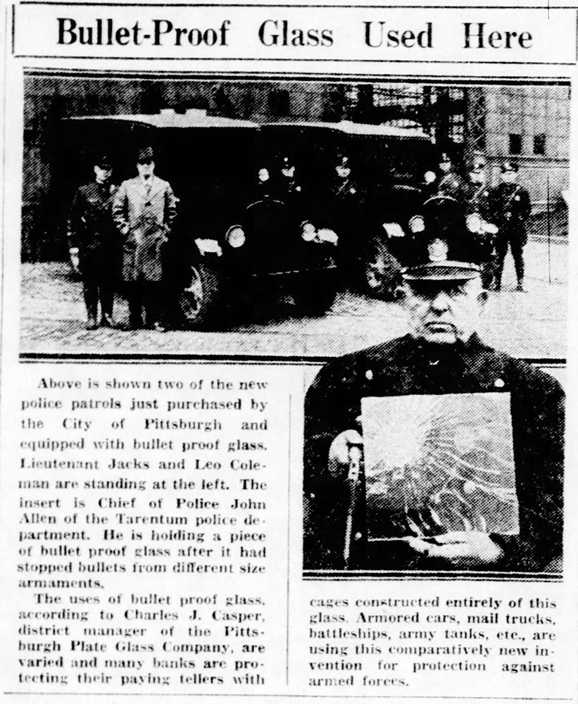 Throughout 1929, the City of Pittsburgh purchased new law enforcement tools to help the police cope with the higher firepower carried by Prohibition-era gangsters. Credit: Pittsburgh Post-Gazette, March 20, 1929