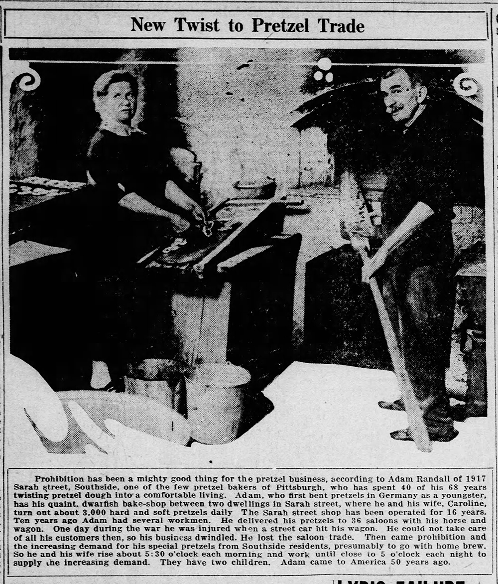 Adam and Caroline Randall pose in their pretzel bakery on Sarah Street, Southside, 1927. The Randall's pretzel business boomed after Prohibition. Pittsburgh Post-Gazette, August 25, 1927.