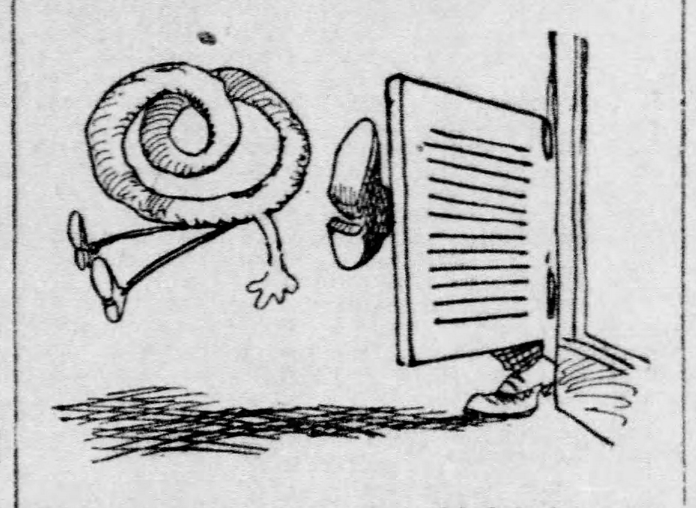 """Carton depicting a pretzel being kicked out of a saloon during the """"Free Lunch"""" debate, 1909. Pittsburgh Daily Post, March 17, 1909."""