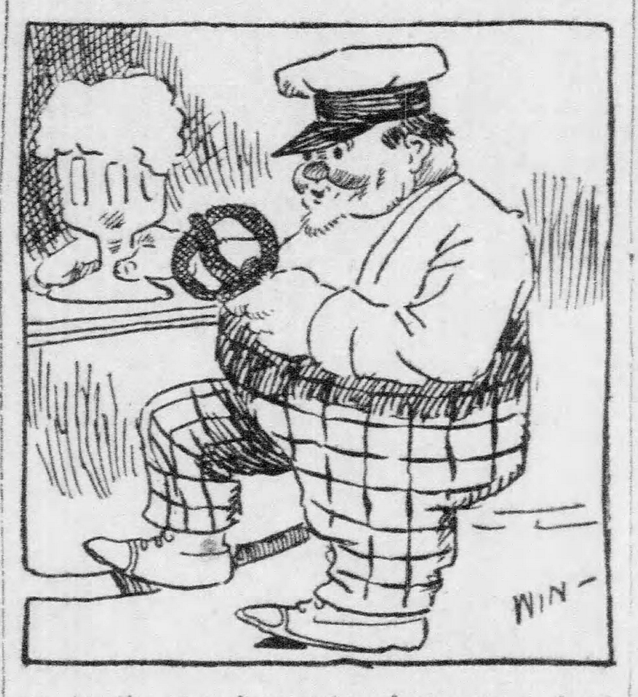 Cartoon depicting a German at the bar with his pretzel and beer, 1920. Pittsburgh Daily Post, September 8, 1910.