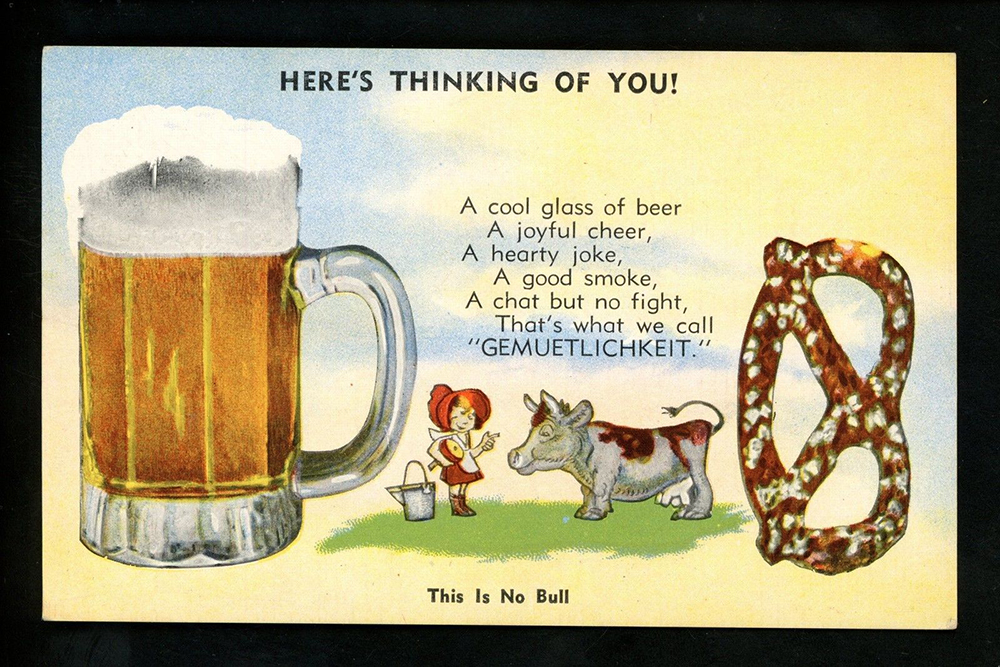 """""""Here's Thinking of You,"""" postcard, c. 1930s."""