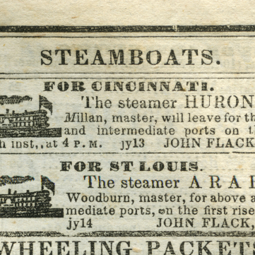 Advertisement for the Steamer ARABIA, Pittsburgh Post Commercial, July 14, 1853.