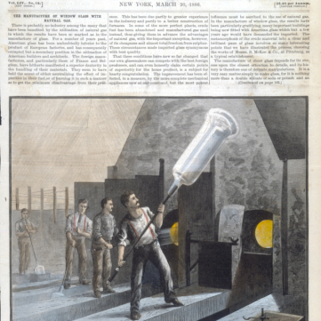Blowing cylinders for window glass, Scientific American, March 20, 1886