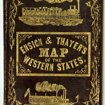 Leather cover, Ensign & Thayer Map of the Western States, 1851-1852