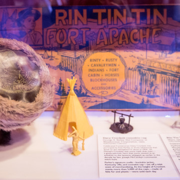 Davey Crockett Coonskin Cap and Merchandise | Toys of the '50s, '60s and '70s exhibit at the Heinz History Center