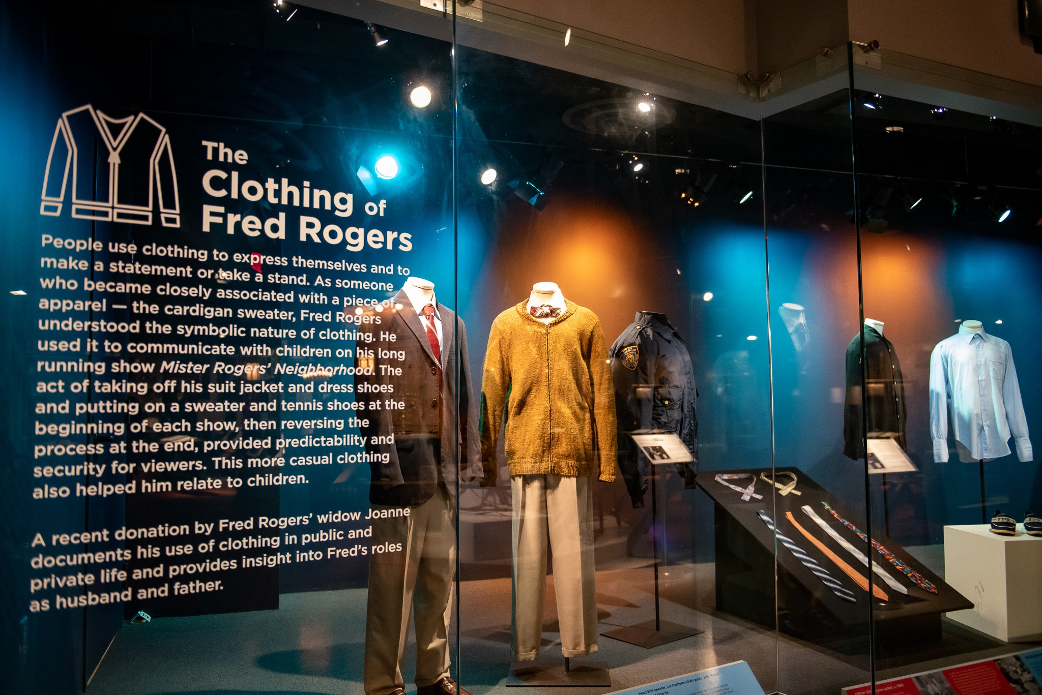 Mister Rogers' clothing on view in the Special Collections Gallery.