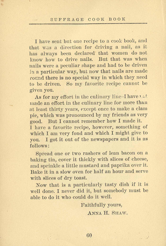 Anna Howard Shaw's written contribution to the Suffrage Cook Book, 1915.