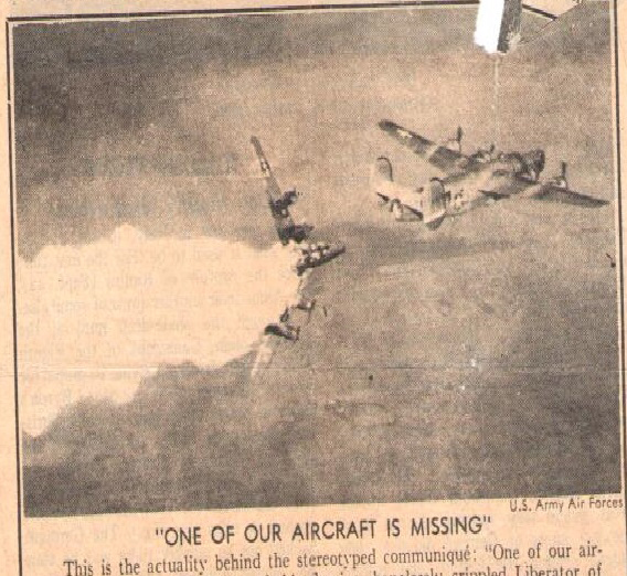 """One of our aircraft is missing"" newspaper clipping"