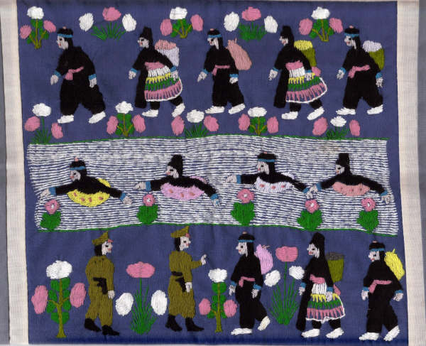 Hmong story cloth depictions