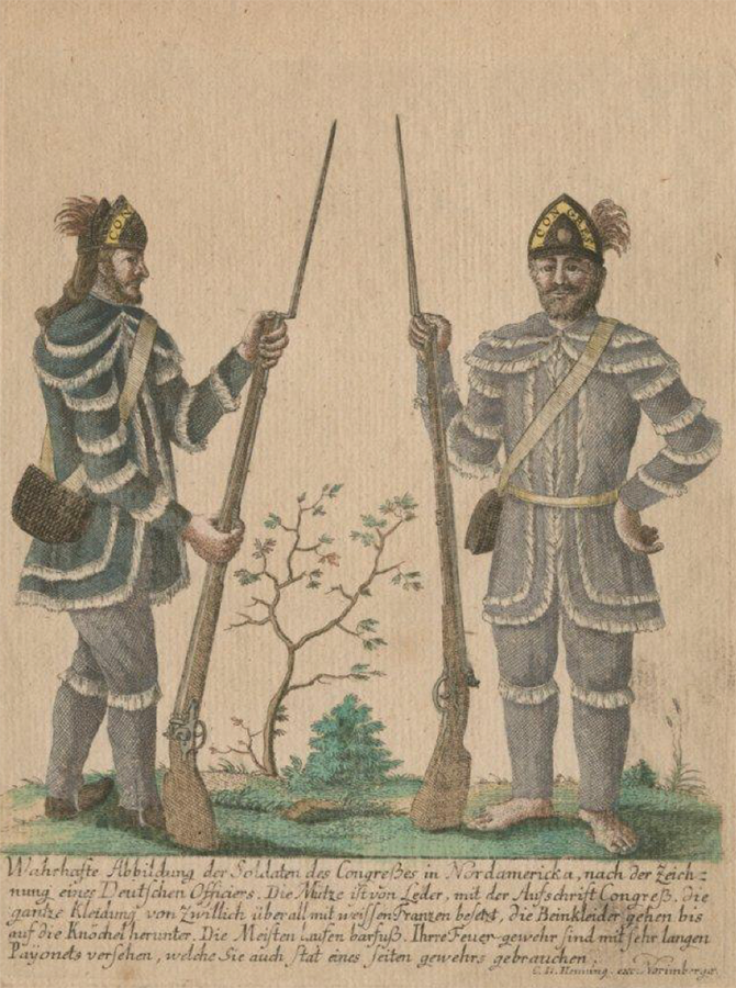 """A True Picture of the Congressional Soldiers in North America, according to the drawing of a German Officer,"" c. 1783, Anne S.K. Brown Library."