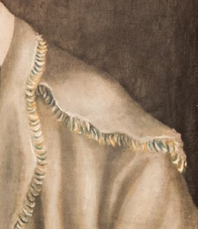 Detail of the multi-colored fringe on Smith's hunting shirt. Contrasting with the fabric of the body, such fringe would have been woven separately and applied to the finished garment.