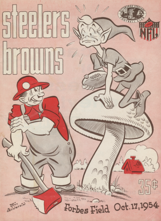 Pittsburgh Steelers official program, October 17, 1954 against the Cleveland Browns. Detre Library & Archives at the Heinz History Center.