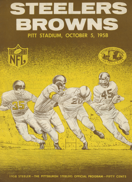 Pittsburgh Steelers official program, October 5, 1958 against the Cleveland Browns. Detre Library & Archives at the Heinz History Center.