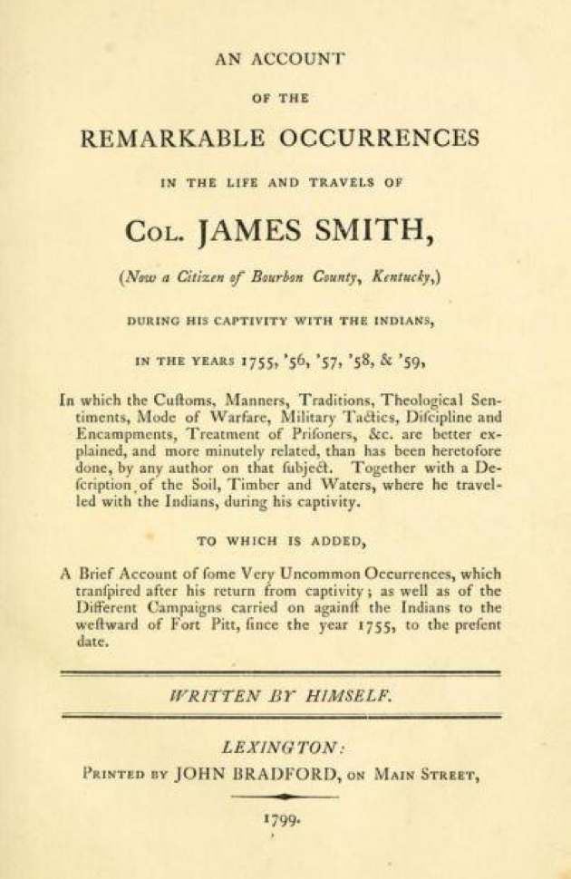 Reprinted title page of Smith's 1799 narrative. Darlington Memorial Library, University of Pittsburgh.