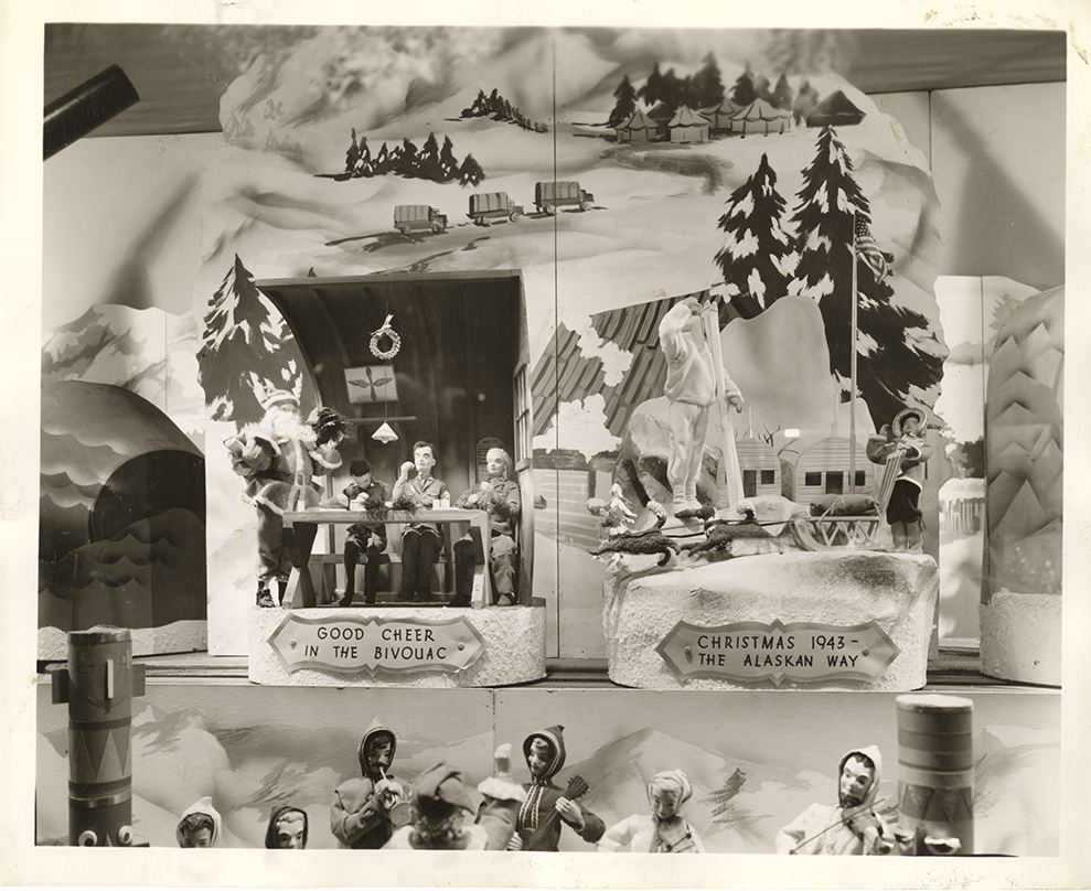 "Kaufmann's Christmas window, ""An American Christmas on Every War Front,"" 1943. Gift of Kaufmann's Department Store, MSP #371, 2002.0158, Heinz History Center."