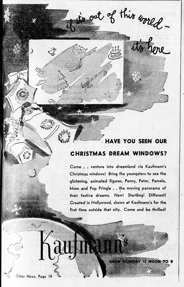 Kaufmann's Christmas window advertisement Pittsburgh Post-Gazette, December 15, 1947.