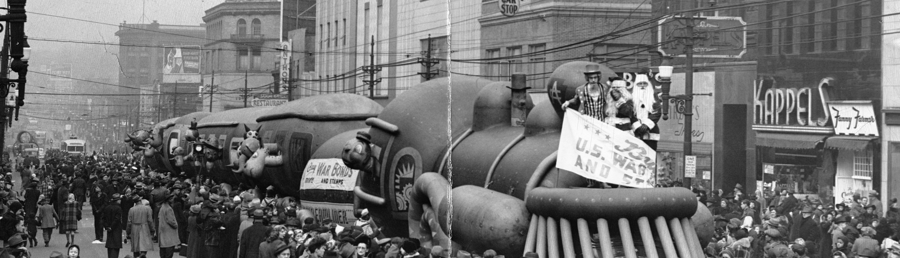 Sixth War Loan parade in East Liberty during the holiday season of 1944.