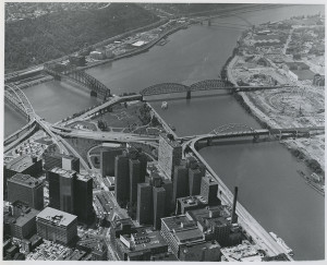 ALT:Aerial view of the Golden Triangle, 1969. Allegheny Conference on Community Development Photographs, 1892-1981, MSP 285, Senator John Heinz History Center.