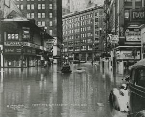 ALT:Fifth Avenue and Market Street during the flood of 1936. Allegheny Conference on Community Development Photographs, 1892-1981, MSP 285, Senator John Heinz History Center.