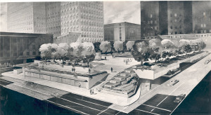 ALT:Concept drawing for Mellon Square Park, 1954. Allegheny Conference on Community Development Photographs, 1892-1981, MSP 285, Senator John Heinz History Center.