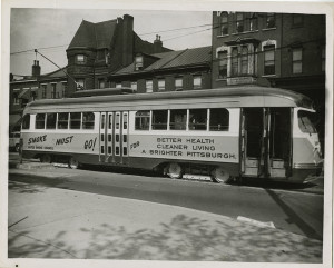 ALT:Streetcar advertising a public relations campaign to promote clean air in Pittsburgh, c. 1955. Allegheny Conference on Community Development Photographs, 1892-1981, MSP 285, Senator John Heinz History Center.