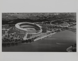 ALT:Concept Drawing of Three Rivers Stadium c. 1965. Allegheny Conference on Community Development Photographs, 1892-1981, MSP 285, Senator John Heinz History Center.