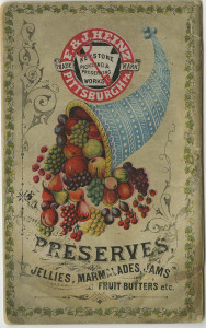 ALT:An early version of the familiar Heinz keystone logo, 1885. H.J. Heinz Company Photographs, MSP 57, Senator John Heinz History Center.