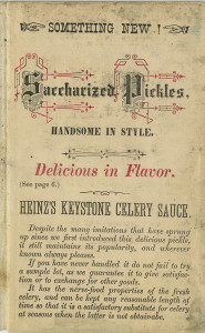 ALT:Celery sauce was one of many new offerings added to the Heinz product lines in the 1880s and 1890s, c. 1890. H.J. Heinz Company Photographs, MSP 57, Senator John Heinz History Center.