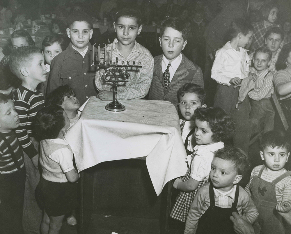 A children's Hanukkah celebration sponsored by the Friendship Club, c. 1950. Earnest Nachman Photographs, Rauh Jewish History Program & Archives at the Heinz History Center.