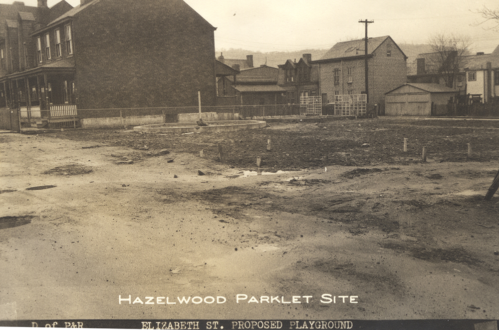 Vacant lot on Elizabeth Street in Hazelwood, 1949. Allegheny Conference on Community Development, Detre Library & Archives, Heinz History Center.