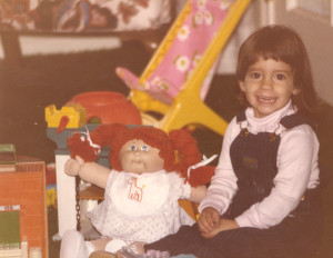 ALT:Melissa Marinaro with her Cabbage Patch Doll, 1985. | I Had That! Childhood Toys Photo Gallery