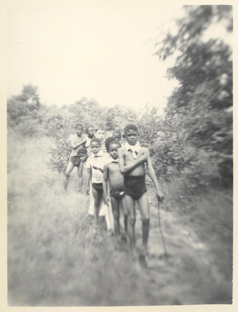 Children hiking at Camp Johnson, c.1948. Camp Johnson Photographs, 1939-1995, MSP 229, Detre Library & Archives at the Heinz History Center.