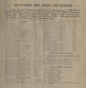 ALT:List of Greater Pittsburgh and Western Pennsylvania public school teachers sponsored by the Pittsburg Times to attend the World's Columbian Exposition, 1893. Pittsburgh Public School Records, MSP 117, Detre Library & Archives, Heinz History Center