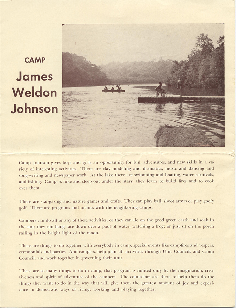 Page from a Camp Johnson pamphlet, 1953. Camp Johnson Records, 1939-1995, MSS 229, Detre Library & Archives, Heinz History Center.