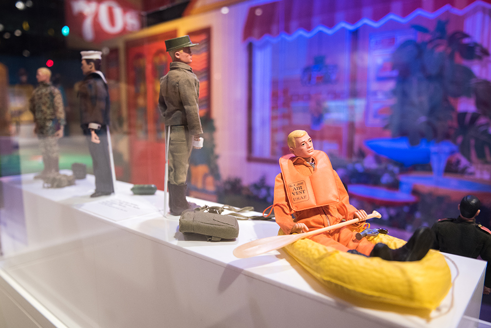 Close up of some of the G.I. Joe action figures in the Toys exhibit. | Photo by Rachellynn Schoen