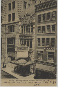 ALT:The Alvin Theatre, Sixth Street, downtown Pittsburgh. General Postcard Collection, GPCC, Detre Library & Archives, Senator John Heinz History Center.