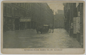 ALT:Flooded Sixth Street, downtown Pittsburgh, on March 15, 1907.General Postcard Collection, GPCC, Detre Library & Archives, Senator John Heinz History Center.