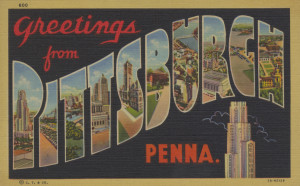 "ALT:Souvenir postcard: ""Greetings from Pittsburgh Penna."" General Postcard Collection, GPCC, Detre Library & Archives, Senator John Heinz History Center."