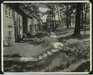 ALT:Old trees and new lawns in southern court of second unit of Chatham Village, three months after landscaping started, June 26, 1936. | Buhl Foundation Photographs, MSP 187, Detre Library & Archives at the Senator John Heinz History Center.