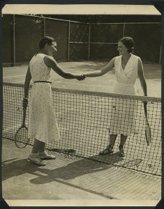 ALT:Two women shaking hands after tennis match in Chatham Village, 1932. | Buhl Foundation Photographs, MSP 187, Detre Library & Archives at the Senator John Heinz History Center.