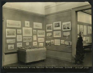 ALT:Photograph of exhibition of model and drawings of Chatham Village at Carnegie Institute during National Conference on City Planning Meeting held in Pittsburgh, November 1932. | Buhl Foundation Photographs, MSP 187, Detre Library & Archives at the Senator John Heinz History Center.