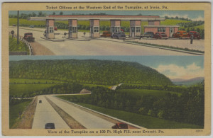 ALT:Views of the Pennsylvania Turnpike including toll booths at Irwin and a hillside near Everett, Pa. General Postcard Collection, GPCC, Detre Library & Archives, Senator John Heinz History Center.