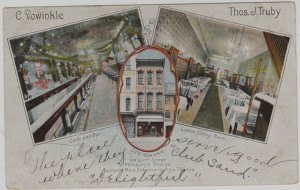 "ALT:Bar, café and ""ladies dining room"" of Café Vowinkle, Sixth Street, downtown Pittsburgh. Postcard inscribed,"