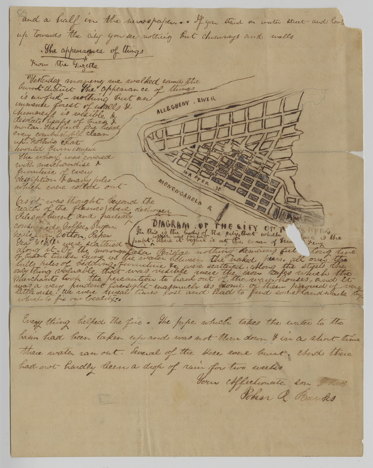 John Banks' Great Fire letter, 1845.