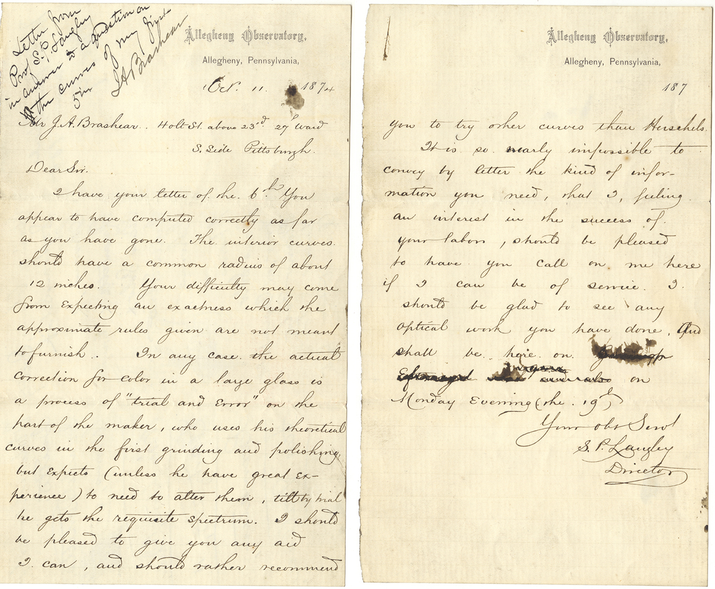 Letter dated October 11, 1874, from Samuel P. Langley to John Brashear, Heinz History Center.