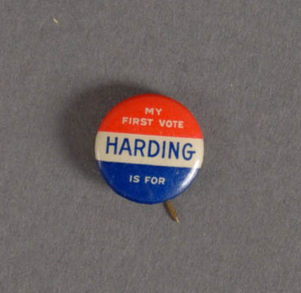 2015.22.1075 - Button from the 1920 Presidential election. rasik Collection of Pennsylvania and Presidential Political Memorabilia, Heinz History Center.