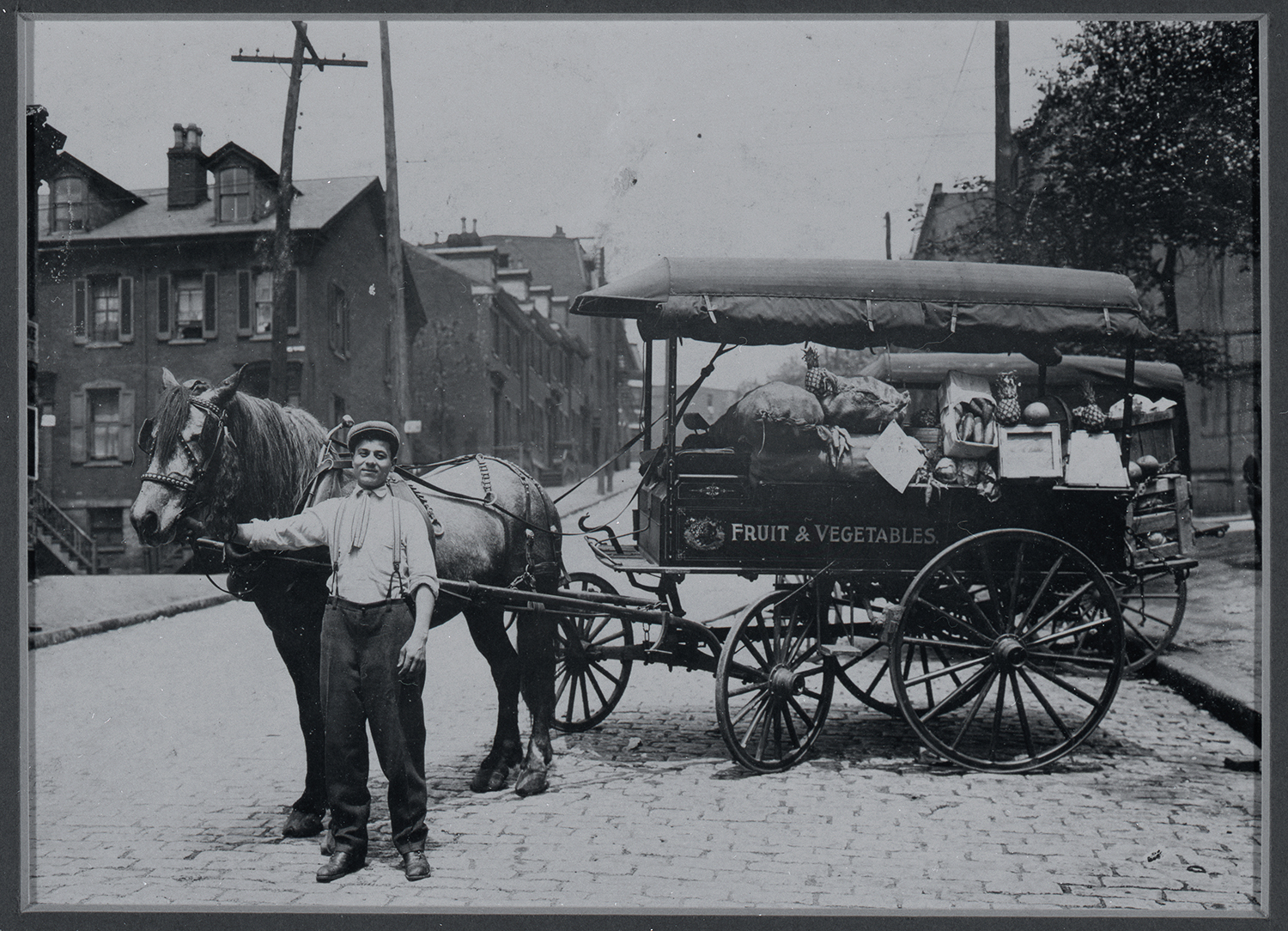 Frank Crisanti and his huckster wagon. Gift of Paul Crisanti. Italian American Collection, Detre Library & Archives at the Heinz History Center.