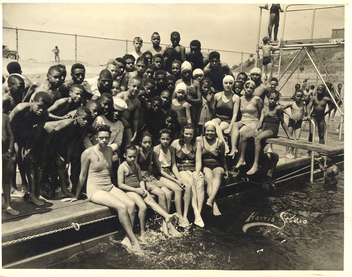 Summer fun at the Ammon Center pool in the Hill District, 1941. Dorsey-Turfley family photograph collection, MSP 455, Detre Library & Archives, Heinz History Center.