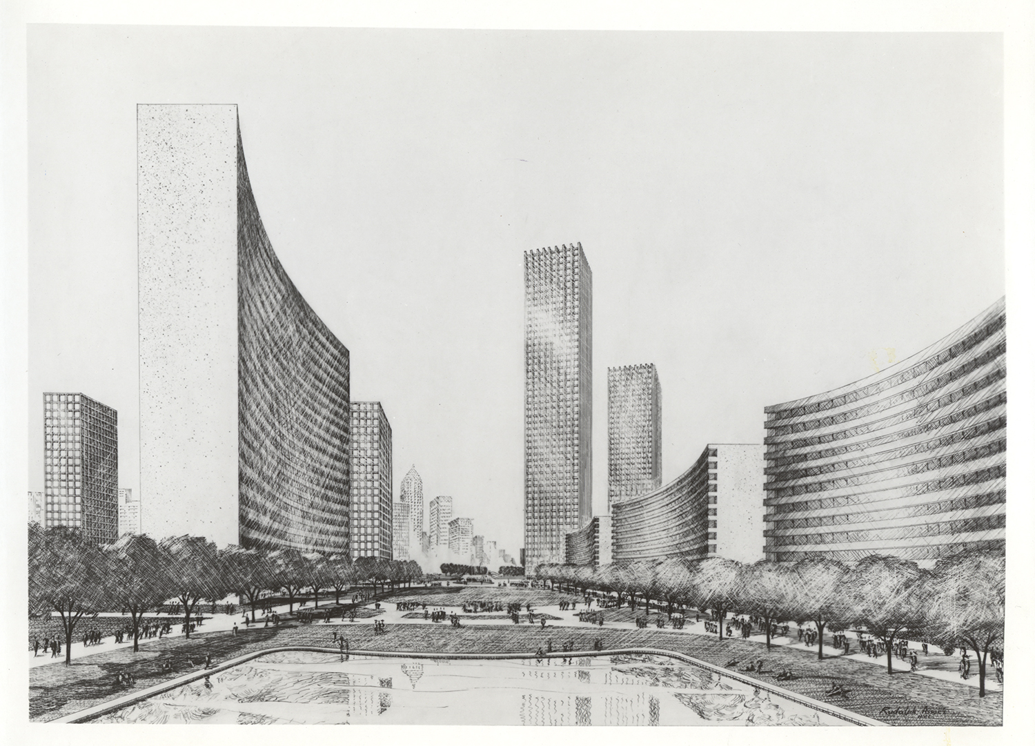 Plan for Penn Central Plaza, 1968. Allegheny Conference on Community Development Photographs, Detre Library & Archives at the Heinz History Center.