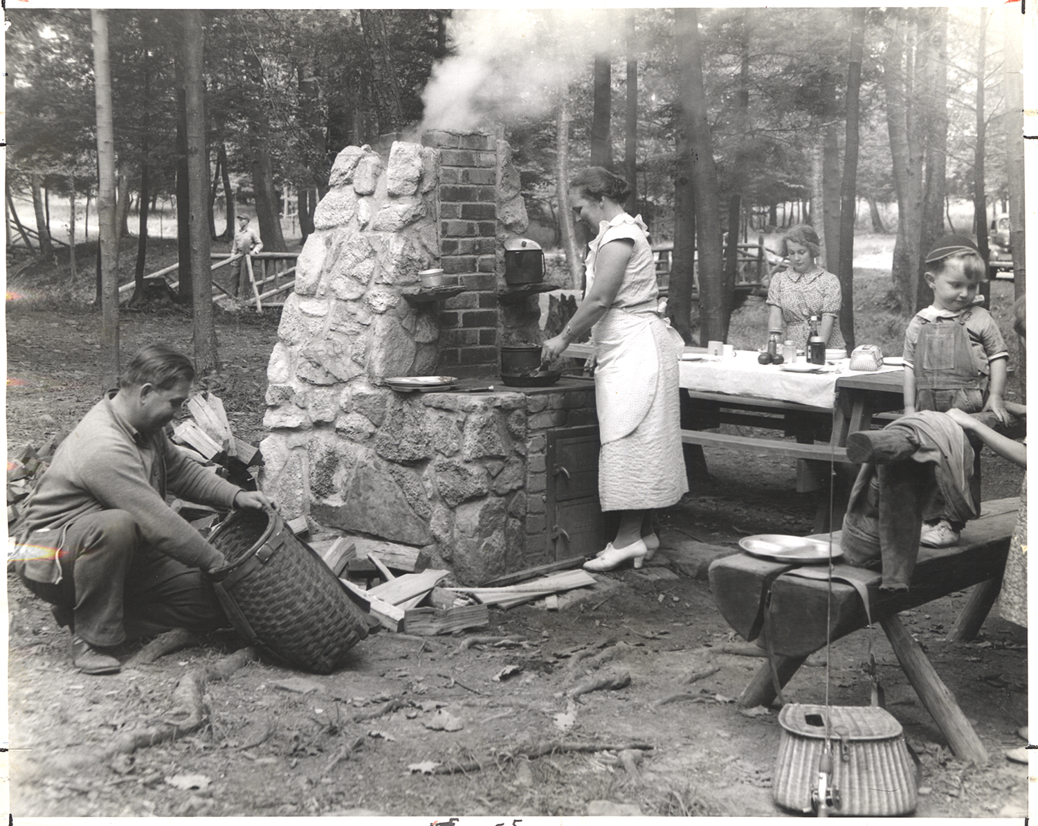 Frying up the day's catch at Cook Forest State Park, 1940s. Allegheny Conference on Community Development collection, MSP 285, Detre Library & Archives, Heinz History Center.
